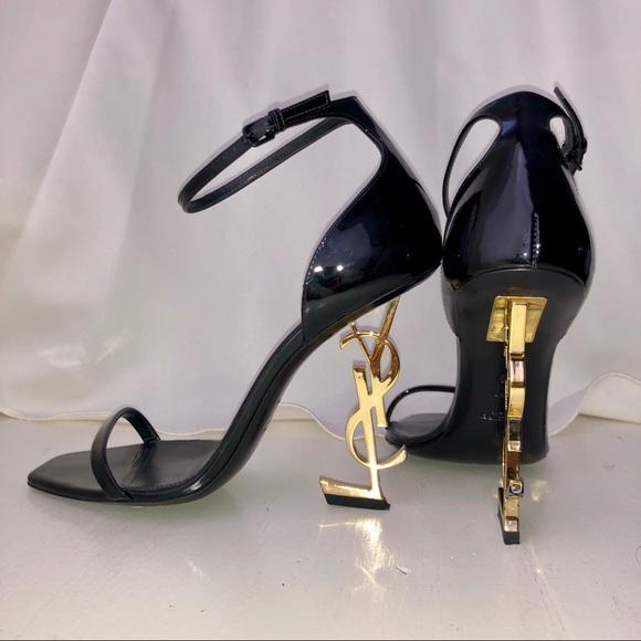 ecb45610a37 Saint Laurent Shoes | Opium Golden Ysl Heel Sandals | Poshmark